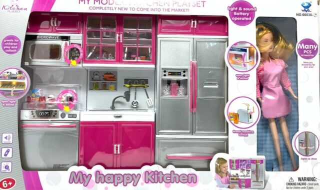 Modern Kitchen Battery Operated Toy Kitchen Playset, Perfect for 11.5\