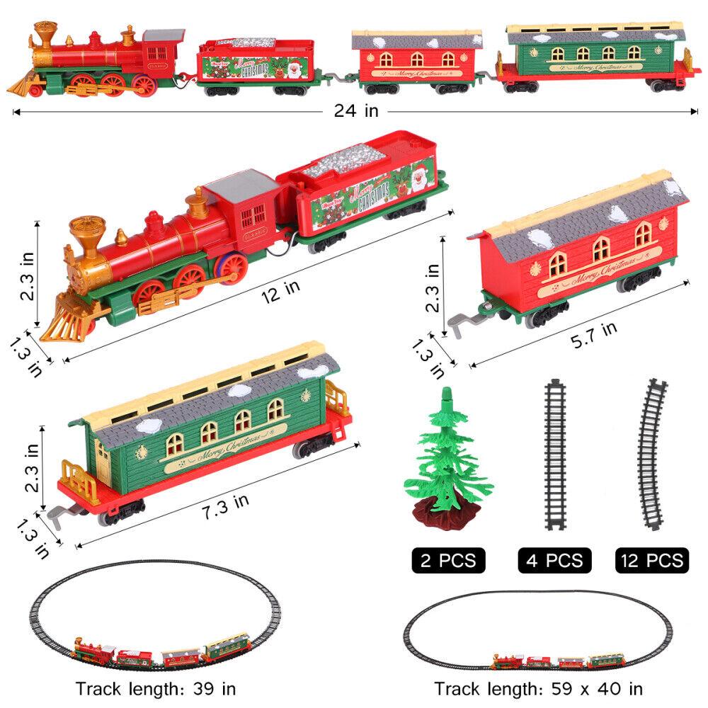 Christmas Train Toy Track Sounds Headlight Festive Decoration Tree Gift X-MASS