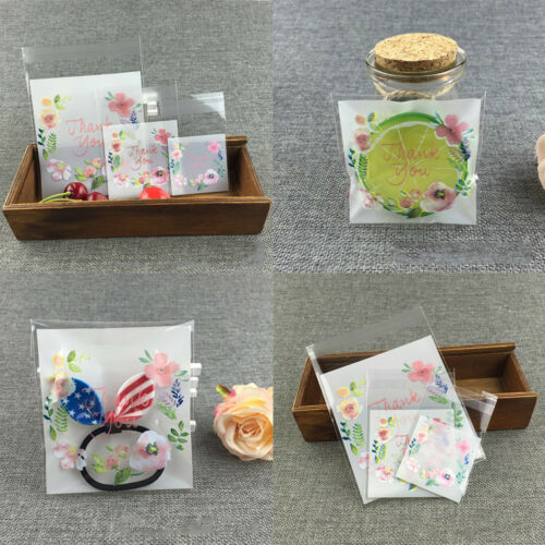 100x Candy Cookies Bags Birthday Gift Bags Self-adhesive Bags Seal Plastic DIY