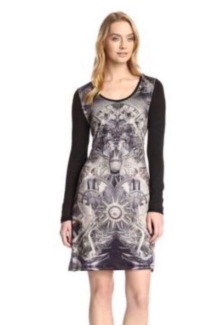 NWT  CUSTO BARCELONA Graphic Print Embellished Sweater Tunic Dress,sz.2 S