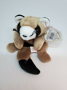 Ty Beanie Baby 1995 Ringo Raccoon Toy Original Retired With Tags & Plastic Cover