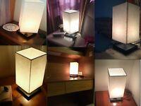 Modern Wood Table Lamp Desk Nightlight Lighting Bedside Linen Shade Light