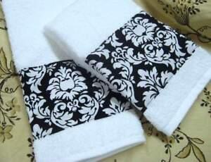 michael miller custom hand towels black white paisley fabric 2