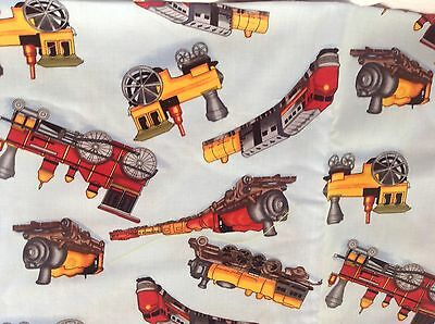 FQ x 1-Trains - Red & Yellow on Blue 100%Cotton Fabric Dress Quilting Craft