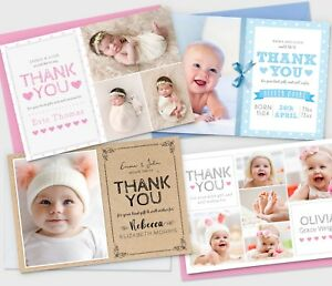 Personalised-New-Baby-Thank-You-Cards-Photo-Birth-Announcement-Girl-or-Boy