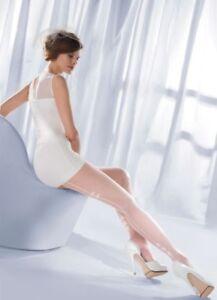 Damen-Gesaeumt-Braut-Durchsichtige-Strumpfhose-Muster-Weiss-Strumpfband