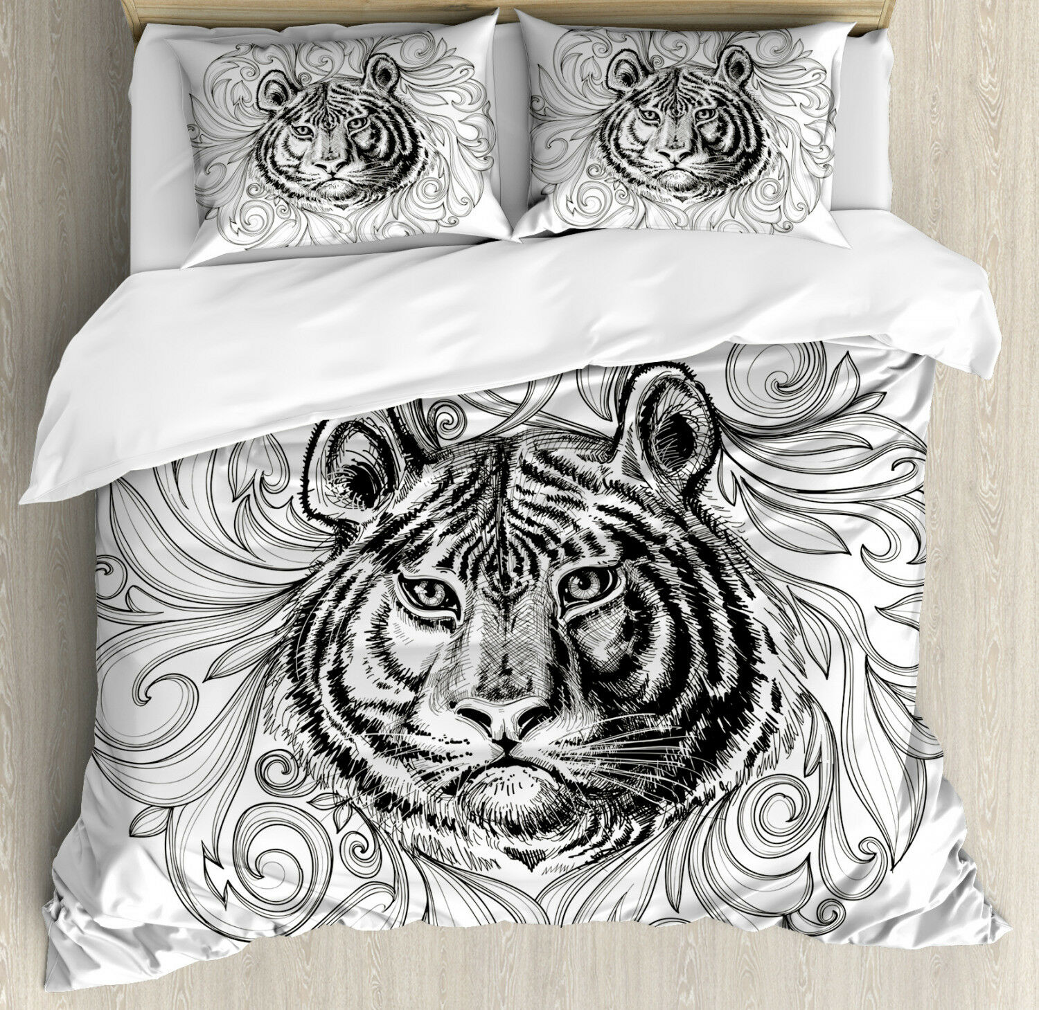 Tiger Duvet Cover Set with Pillow Shams Monochrome Feline Leaves Print