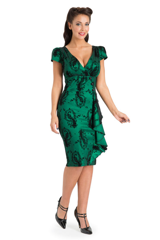 a1e274380a8 New Emerald Green Lace Voodoo Vixen 50 s Rockabilly Vintage Cocktail Party  Dress