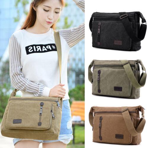 Mens Vintage Canvas Messenger Shoulder Bag Crossbody Sling School Travel Satchel