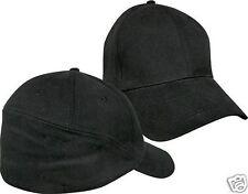 Plain Black Baseball Hat Rear View Cap Curved Brim Large X-Large Flex Fit New
