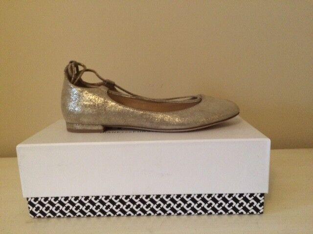 DIANE VON FURSTENBERG PARIS or GLITTER METALLIC LEATHER FLAT chaussures Taille 37 7