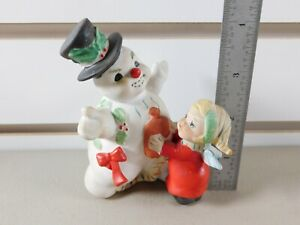 XMAS-Eve-Rockwell-George-Good-Frosty-Snowman-with-Girl-4-034-Ceramic-Figurine