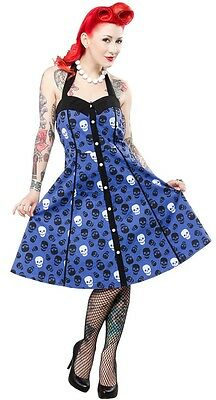 SOURPUSS LUST FOR SKULLS PEGGY HALTER DRESS BLUE ROCKABILLY GOTH HALLOWEEN PINUP
