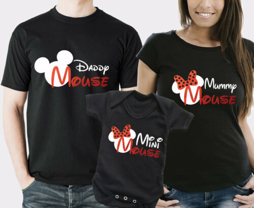 Papà Mummia e Mini Mouse famiglia corrispondenti Nero T-shirt e BABY GROW Set.