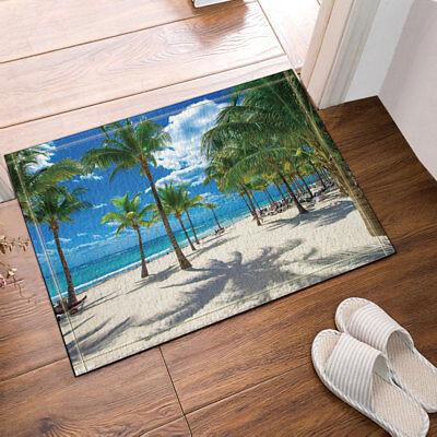 Palm trees tropical blue sea Non Slip Flannel Rug Warm Carpet Bathroom Door Mat