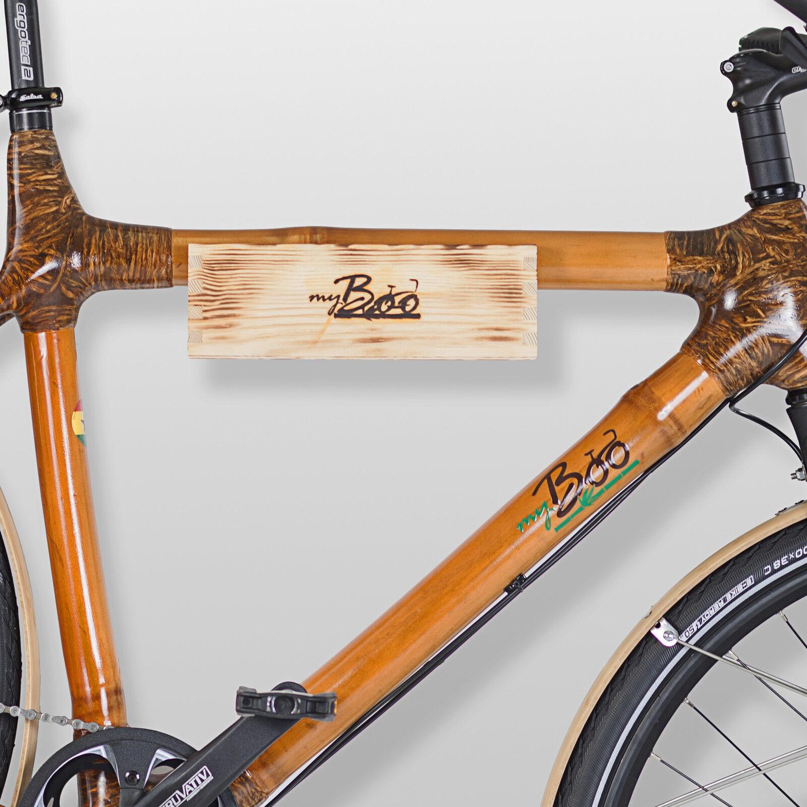 Fahrradwandhalterung Fahrradwandhalterung Fahrradwandhalterung aus Holz und Leder für Fahrräder - Halterung Holz Fahrrad 1eb2a6