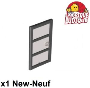 Lego-1x-Door-Porte-1x4x6-3-Panes-carreaux-fenetre-noir-trans-black-60797c02-NEUF