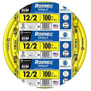 100-Ft Roll 12-2 AWG NMB Gauge Indoor Electrical Copper Wire Romex ...