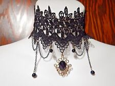 GOTHIC LACE CHOKER classic EGL wide Victorian style black collar necklace new J1