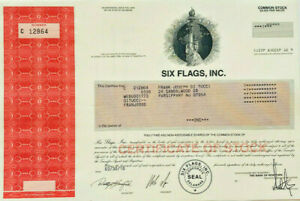 Six Flags parks and entertainment stock certificate