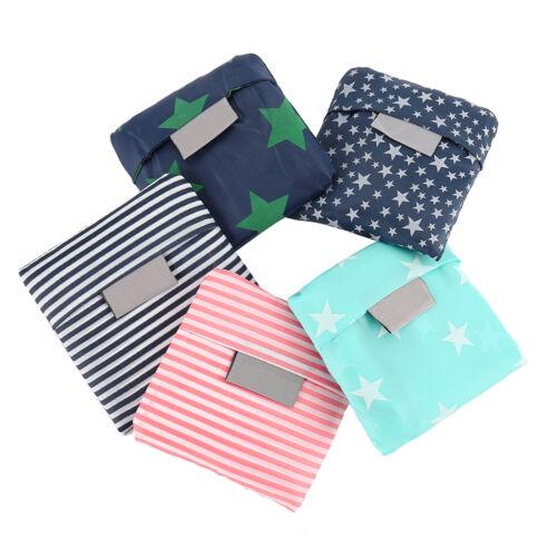 5PCS Reusable Foldable Shopping Bag Eco Tote Shoulder Foldable Travel Handbag