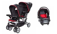 Baby Trend Sit N Stand Double Stroller One Infant Car Seat Combo Set Red Black