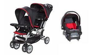 Details About Baby Trend Sit N Stand Double Stroller With Infant Car Seat Combo Set Red Black