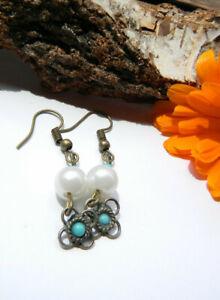 1 Paar Tolle Perlen-ohrringe Bronze Blumen Türkis Echt Handarbeit Haken Neu ????