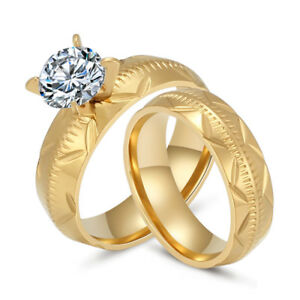 18k Gold Plated Stainless Steel Cz Round Wedding Band Couple Ring