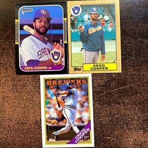 Cecil Cooper Card Lot x3 Donruss & Topps 1987 & 1988 Milwaukee Brewers
