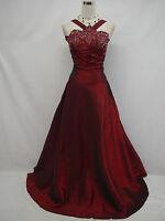 Cherlone Plus Size Satin Burgundy Prom Ball Gown Wedding/Evening Dress UK 26-28