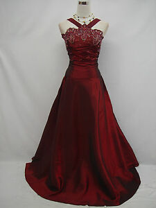 Cherlone-Plus-Size-Satin-Burgundy-Prom-Ball-Gown-Wedding-Evening-Dress-UK-26-28