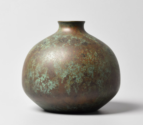Japanese Bronze Copper Alloy Ikebana Vase By Tachikawa Zenji