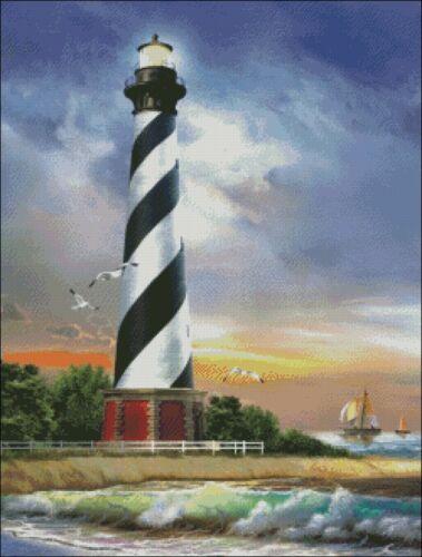 Cape Hatteras Lighthouse DIY Chart Counted Cross Stitch Patterns Needlework