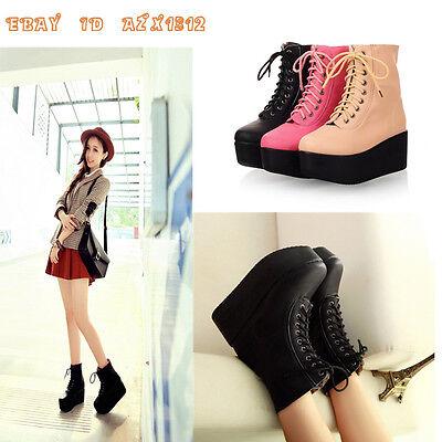 Women's ROCK Style Lace Ups Platform Gothic Punk Ankle Boots Shoes 3 colors size