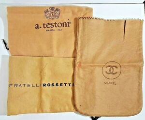 32578a839707 3 Vintage Travel Shoe Purse Storage Dust Bags Rossetti Chanel ...