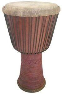 "Hand-carved Guinea Djembe Drum - 13"" X 24"" - Solid Hardwood, Goat Skin Head"