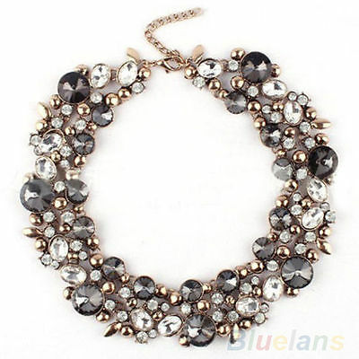 Women's Fashion Beauty Inlaid Rhinestone Bib Collar Statement Necklace Jewelry