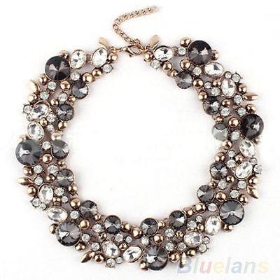 Women's Fashion Beauty Inlaid Rhinestone Bib Collar Statement Necklace Jewelry