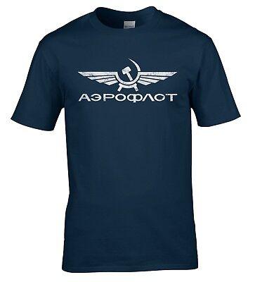 Аэрофлот Aeroflot Camiseta Vintage líneas aéreas SOVIÉTICA RUSIA CCCP URSS con aspecto envejecido