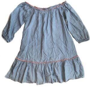 American-Eagle-Aerie-bohemian-peasant-dress-denim-dolman-Dress-Size-Small