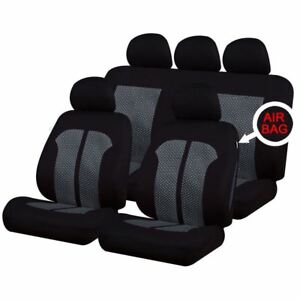 UKB4C-Black-Grey-Full-Set-Front-amp-Rear-Car-Seat-Covers-for-Dodge-Ram-All-Years