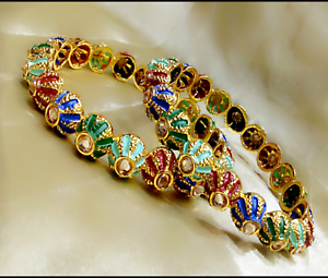Indian-CZ-Bangles-Bracelet-Gold-Plated-With-Meenakari-Fashion-Wedding-Jewellery
