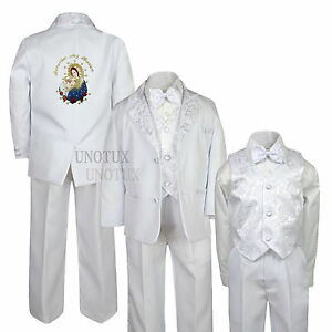 White Baptism Christening Formal Suit Tuxedo with Virgin Mary Santa Maria S-7