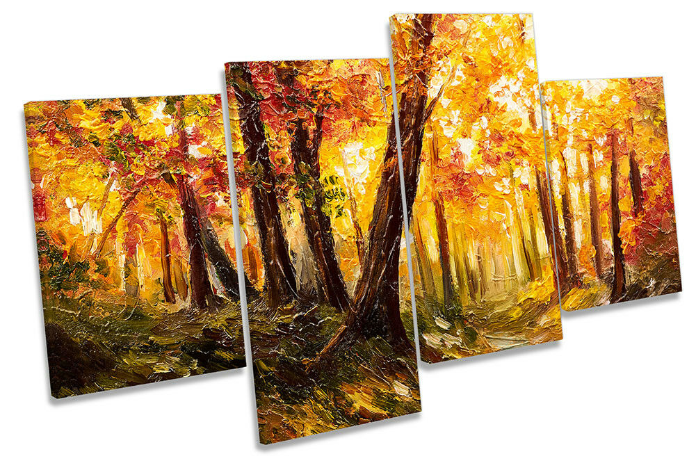 Autumn Orange Forest Repro Framed MULTI CANVAS PRINT Wall Art