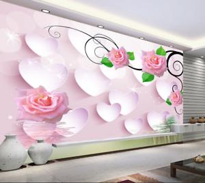 3D Herzförmige Blüten 586 Tapete Tapeten Mauer Foto Familie Tapete Wandgemälde