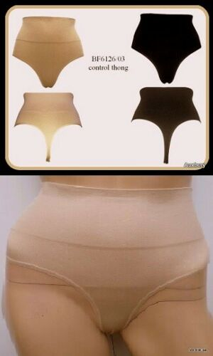 New In Ladies High Waist Shape-wear Thong size 10 to 20 Black//Nude