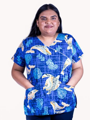 scrub tops floral scrub tops,blue scrubs tops medical tops,printed scrubs