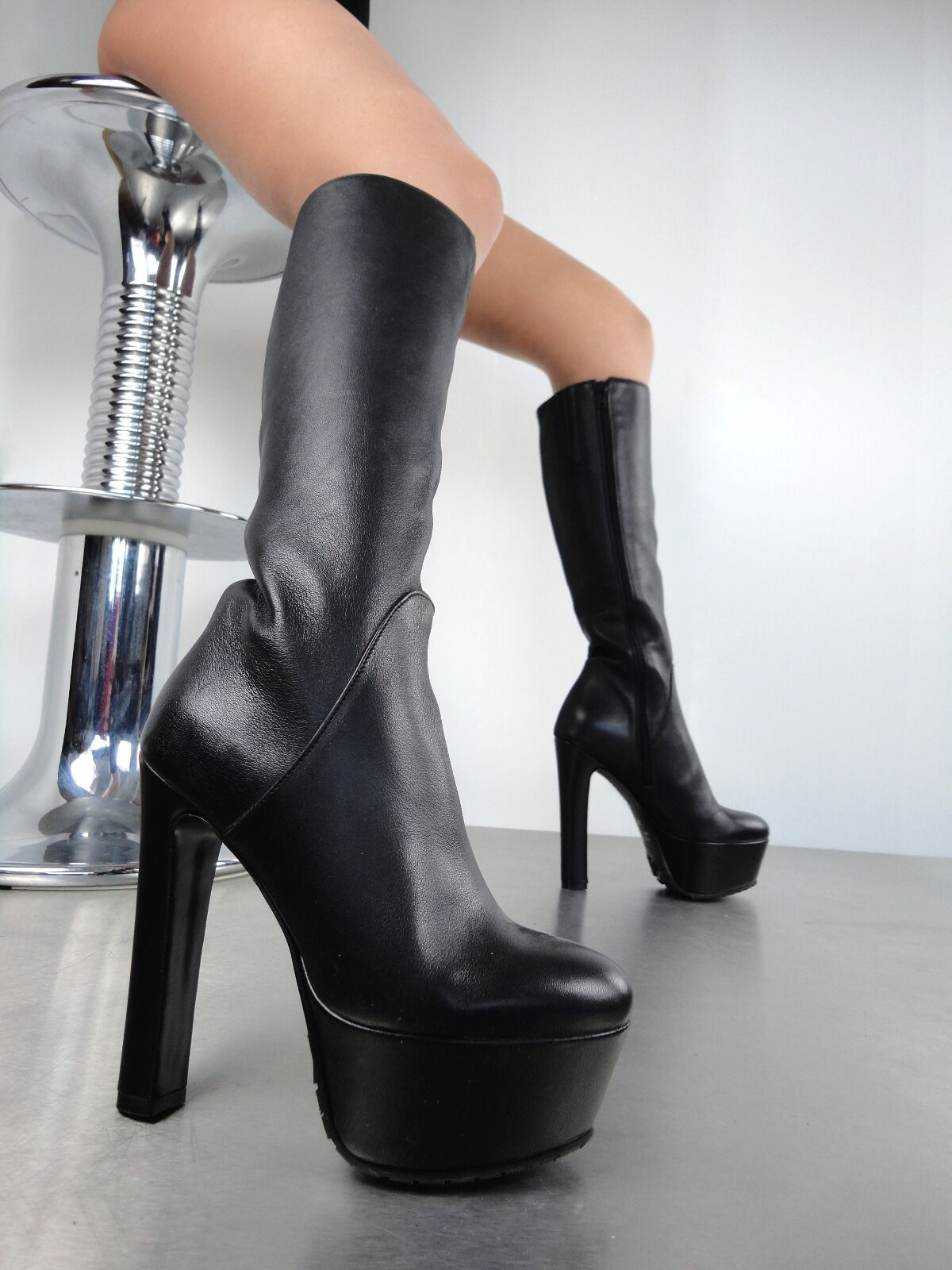 GIOHEL ITALY PLATFORM KNEE HIGH HEELS BOOTS STIEFEL STIVALI  PELLE GOMMA NERO 43