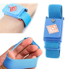 Blue Cordless Wireless Anti Static ESD Discharge Cable Band Wrist Strap Slim New